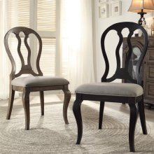 Belmeade - Queen Ann Upholstered Side Chair - Raven Black Finish