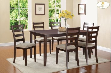 7-Piece Pack Dinette Set Table: 36 x 60 x 30H Chair: 17 x 20 x 38H