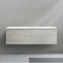 """51 collection series 1400 wall-mount vanity, HST White gloss 55"""" w x 19"""" h x 20 1/4"""" d"""