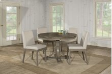 Clarion 5-piece Round Dining Set With Upholstered Chairs - Distressed Gray
