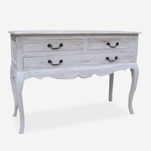 (LS) Sausalito cabriole leg vintage console table with 3 drawers and pull out shelf..Dimension: 41X1