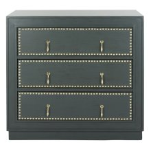 Lupita 3 Drawer Chest - Steel Teal / Gold