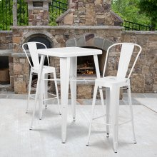 23.75'' Square White Metal Indoor-Outdoor Bar Table Set with 2 Stools with Backs
