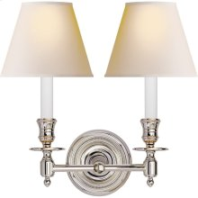 Visual Comfort S2112PN-NP Studio French Library 2 Light 13 inch Polished Nickel Decorative Wall Light in Natural Paper