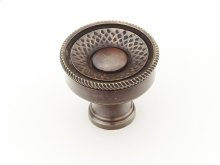 "Solid Brass, Symphony, Sonata, Round Knob, 1-1/4"" diameter, Dark Antique Bronze finish"