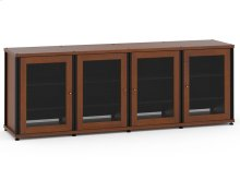 Synergy Solution 347, Quad-Width AV Cabinet, Cherry with Black Posts
