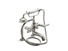 Bath Faucet with Handshower, Lever Handles - Nickel Silver