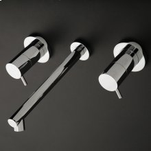 Wall-mounted three-hole faucet with two lever handles, no backplate. Includes rough-in and trim.