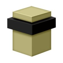"Square Universal Floor Bumper 2-1/2"", Solid Brass - Unlacquered Brass"