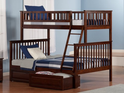 Woodland Bunk Bed Twin over Full with Raised Panel Bed Drawers in Walnut