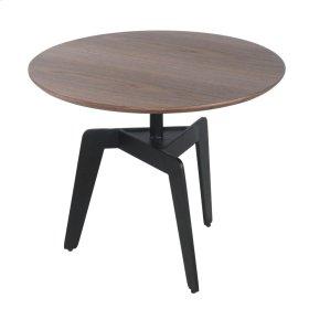 Kian KD Round End Table Black Legs, Walnut