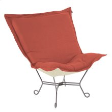 Scroll Puff Chair Linen Slub Poppy Titanium Frame