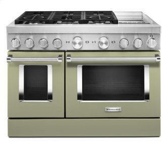KitchenAid™ 48'' Smart Commercial-Style Dual Fuel Range with Griddle - Avocado Cream