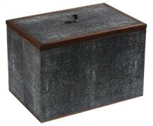 Medium Charcoal Shagreen Box