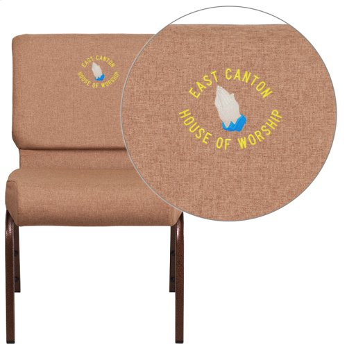 Embroidered HERCULES Series 21'' Extra Wide Caramel Fabric Stacking Church Chair with 4'' Thick Seat - Copper Vein Frame