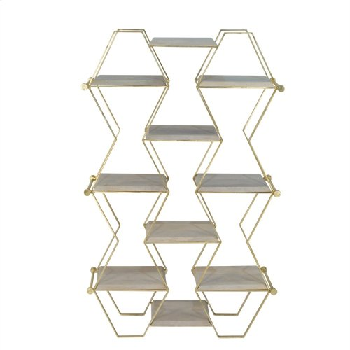 Metal & Wood Hex Design Etagere, Gold Kd