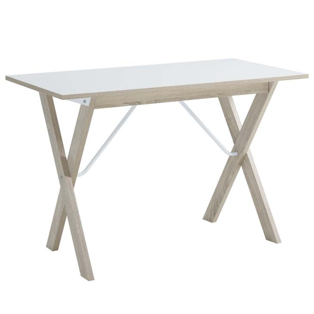 Expanse Wood Writing Desk in Natural White