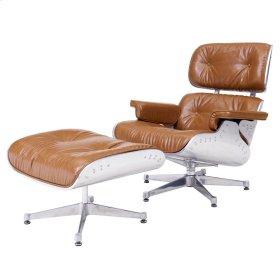 Grayson PU Lounge Chair and Ottoman Aluminum Frame, Distressed Caramel