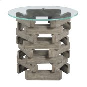 "Complete End Table-round 24"" Glass Top W/pine Wood Pedestal Base-driftwood Finish"