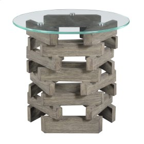 """Complete End Table-round 24"""" Glass Top W/pine Wood Pedestal Base-driftwood Finish"""