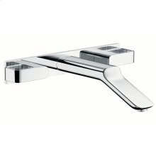 Chrome 3-hole basin mixer for concealed installation with spout 228 mm wall-mounted