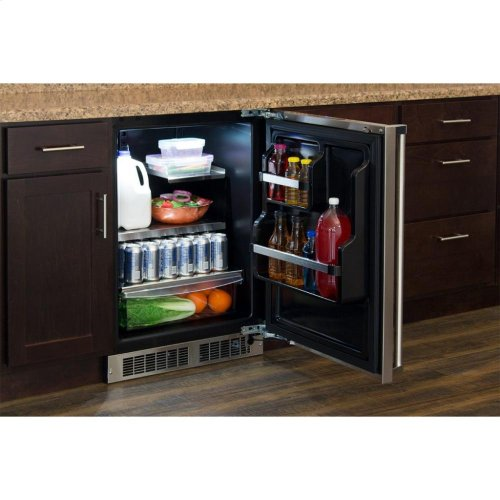 """24"""" All Refrigerator with Drawer Storage - Panel-Ready Solid Overlay Door with Lock - Integrated Left Hinge (handle not included)*"""