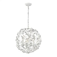 Circeo 4-Light Pendant in Antique White with Crystal