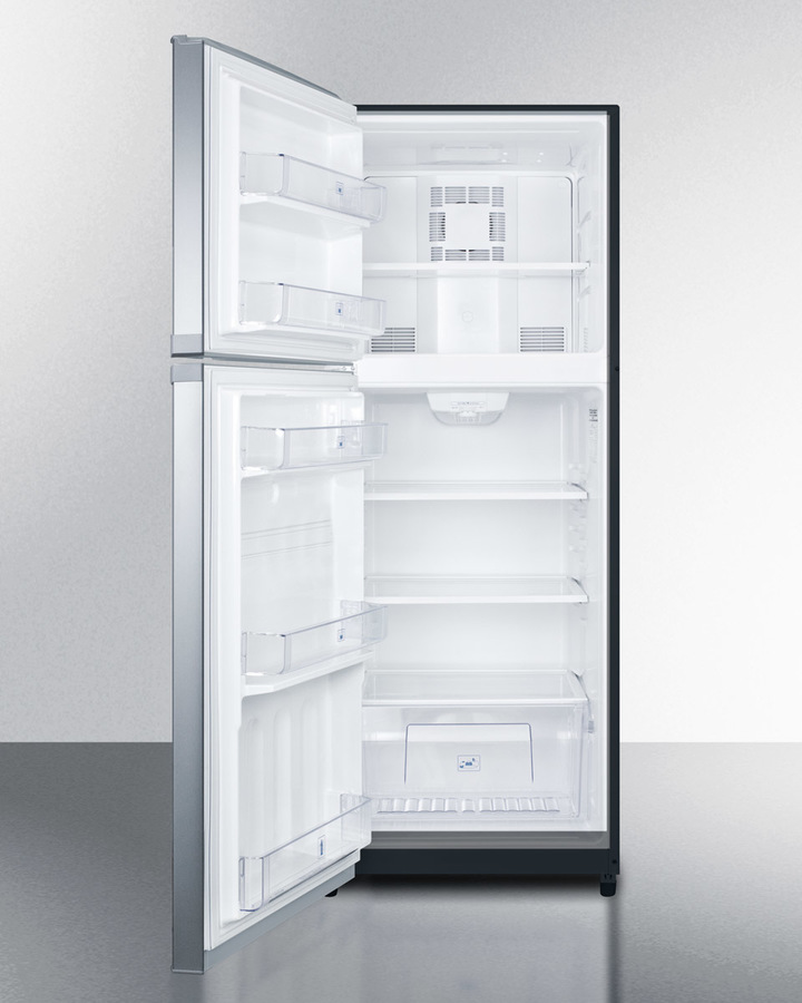 SUMMIT Counter Depth Frost Free Refrigerator Freezer With Stainless Steel  Doors, Black Cabinet