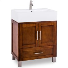 "28"" vanity with Chocolate finish, satin nickel hardware, with an oversized vessel bowl/top."