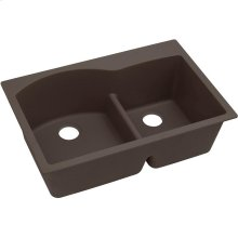 "Elkay Quartz Luxe 33"" x 22"" x 10"", Offset 60/40 Double Bowl Drop-in Sink with Aqua Divide, Chestnut"