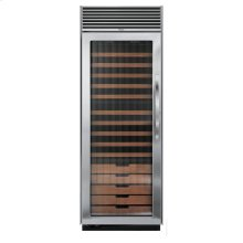 "Stainless Steel 30"" Full-Height Wine Cellar - DDWB (Left Hinge Fluted Door, Designer handle)"