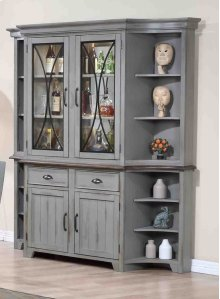 China Hutch - Weathered Grey/Oak Finish