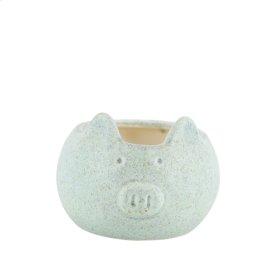 """Ceramic Pig Planter, 6.75"""" Green"""