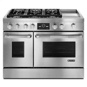 "Jenn-AirPro-Style® 48"" Dual-Fuel Range with Griddle and MultiMode® Convection"