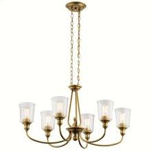 Waverly Oval 6 Light Chandelier Natural Brass