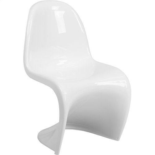 Mystique Series White Plastic Stacking Side Chair
