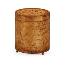 Cylindrical Burl Walnut Box