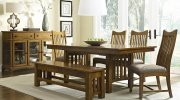 Mission Oak Trestle ext Table with 6 Chairs Product Image