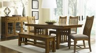 Mission Oak Trestle ext Table with 6 Chairs