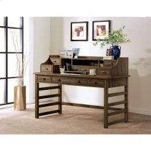 Perspectives - Leg Desk With Hutch - Brushed Acacia Finish