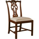 CARVED REGENCY MAHOGANY FINISH CHIPPENDALE STRAIGHT LEG SIDE CHAIR, NEUTRAL UPHOLSTERY Product Image