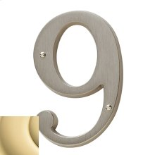 Non-Lacquered Brass House Number - 9