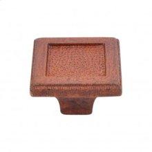 Square Inset Knob 2 Inch - True Rust