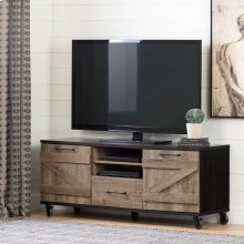 Industrial TV Stand on Wheels for TVs up to 65\ - Weathered Oak and Ebony