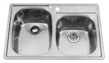 Offset Combo Bowl 4 Faucet Holes Double Bowl Top-Mount(Deck Silk/Bowl Silk)