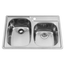 Offset Combo Bowl 4 Faucet Holes Double Bowl Top-Mount(Deck Silk/Bowl Silk)