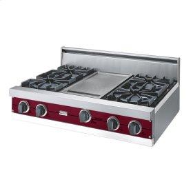 """Burgundy 36"""" Open Burner Rangetop - VGRT (36"""" wide, four burners 12"""" wide griddle/simmer plate)"""