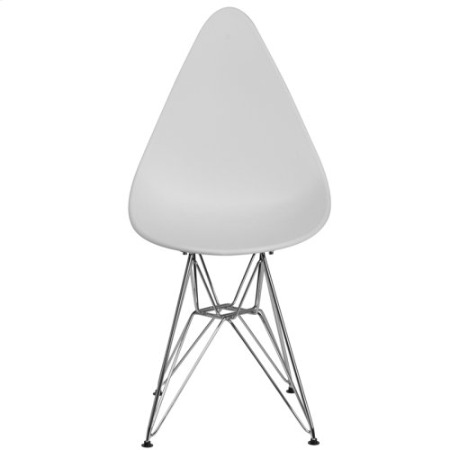 Allegra Series Teardrop White Plastic Chair with Chrome Base