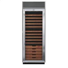 "Stainless Steel 30"" Full-Height Wine Cellar - DDWB (Left Hinge Clear Door)"