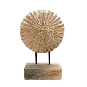 """Carved Wood Fan Disc On Stand15"""""""